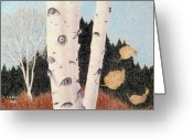 Fall Drawings Greeting Cards - Birches Greeting Card by Betsy Gray Bell
