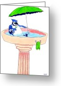 Martini Drawings Greeting Cards - Bird Bath Greeting Card by Ben Leary