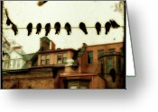 Cityscape Digital Art Greeting Cards - Bird Cityscape Greeting Card by Gothicolors With Crows