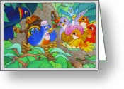 Bright Drawings Greeting Cards - Bird-Day Greeting Card by Terry Anderson