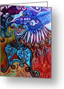 Surrealistic Painting Greeting Cards - Bird Heart II Greeting Card by Genevieve Esson