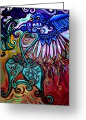 Surrealistic Painting Greeting Cards - Bird Heart III Greeting Card by Genevieve Esson