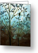 Dark Brown Greeting Cards - Bird House by MADART Greeting Card by Megan Duncanson