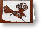 Air Mixed Media Greeting Cards - Bird in Flight Greeting Card by Carolyn Doe