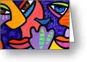 Abstract Bright Color Greeting Cards - Bird in the Room Greeting Card by Steven Scott