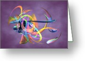 Fine_art Greeting Cards - Bird-Of-Paradise - Abstract Greeting Card by Louis Ferreira