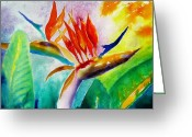 Carlin Greeting Cards - Bird of Paradise Greeting Card by Carlin Blahnik