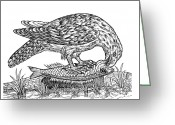 1555 Greeting Cards - Bird Of Prey, Historical Artwork Greeting Card by Middle Temple Library
