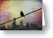 Cityscape Digital Art Greeting Cards - Bird on a Wire Greeting Card by Bill Cannon