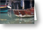 Reflections In Water Greeting Cards - Bird on Boat Oar - Hong Kong Greeting Card by Gordon Wood