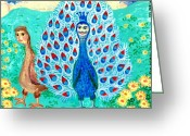 Sue Burgess Ceramics Greeting Cards - Bird people Peacock king and peahen Greeting Card by Sushila Burgess