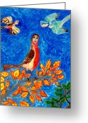 Autumn Leaves Ceramics Greeting Cards - Bird people Robin Greeting Card by Sushila Burgess