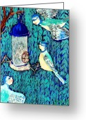 Sue Burgess Ceramics Greeting Cards - Bird people The bluetit family Greeting Card by Sushila Burgess