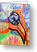 Abstract Card Pastels Greeting Cards - Bird Greeting Card by Petra Olsakova