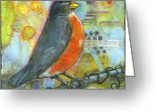 Mixed-media Greeting Cards - Bird Print Robin Art Greeting Card by Blenda Tyvoll