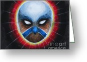 Eagle Pastels Greeting Cards - Bird Totem Mask Greeting Card by Samantha Geernaert