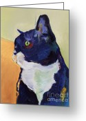 Blue Cat Greeting Cards - Bird Watcher Greeting Card by Pat Saunders-White
