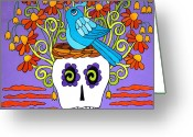 The Nest Painting Greeting Cards - Birdbrain Greeting Card by Robin Westenhiser