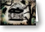 New Age Art Greeting Cards - Birdcage Greeting Card by Gothicolors With Crows