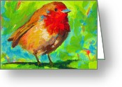 Abstract Greeting Cards Greeting Cards - Birdie Bird - Robin Greeting Card by Patricia Awapara