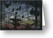Grungy Greeting Cards - Birds 2 Greeting Card by Arleana Holtzmann
