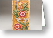 Woodcarving Reliefs Greeting Cards - Birds and Blossoms Greeting Card by James Neill