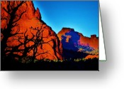 Geologic Formations Greeting Cards - Birds at Sunset Greeting Card by Helen Carson
