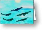 Lacy Abstract Greeting Cards - Birds in Flight Greeting Card by Anne Lacy