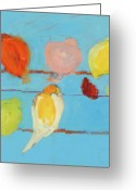 Wire Mixed Media Greeting Cards - Birds Greeting Card by Laurie Breen