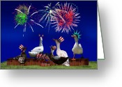 4th July Mixed Media Greeting Cards - Birds of a Feather Celebrate Freedom Greeting Card by Gravityx Designs