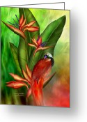 Animal Art Giclee Mixed Media Greeting Cards - Birds Of Paradise Greeting Card by Carol Cavalaris