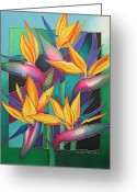 Silk Art Greeting Cards - Birds of Paradise Greeting Card by Maria Rova