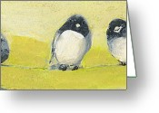 Grey Painting Greeting Cards - Birds on a Wire Greeting Card by Jennifer Lommers