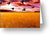 Blackbirds Greeting Cards - Birds Over Wheat Field Greeting Card by Anthony Caruso