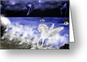 Storm Digital Art Greeting Cards - Birth of Pegasus Greeting Card by Tanya Van Gorder
