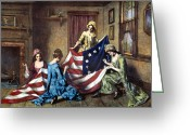 Betsy Ross Greeting Cards - Birth Of The Flag Greeting Card by Granger