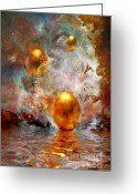 Golden Digital Art Greeting Cards - Birth Greeting Card by Photodream Art