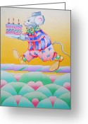 Stripes Sculpture Greeting Cards - Birthday Cake Greeting Card by Virginia Stuart
