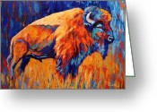 Buffalo Painting Greeting Cards - Bison At Dusk Greeting Card by Theresa Paden