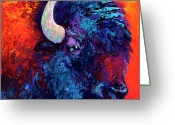 Buffalo Painting Greeting Cards - Bison Head Color Study II Greeting Card by Marion Rose