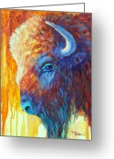 Buffalo Painting Greeting Cards - Bison on the Prairie in Autumn Greeting Card by Theresa Paden