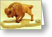 Wildlife Sculpture Greeting Cards - Bison  Greeting Card by Russell Ellingsworth