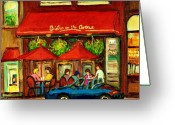 Portrait Specialist Greeting Cards - Bistro On Greene Avenue In Montreal Greeting Card by Carole Spandau