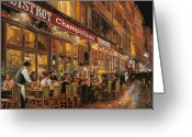 Night Painting Greeting Cards - Bistrot Champollion Greeting Card by Guido Borelli