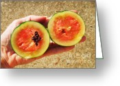 Watermelon Seed Greeting Cards - Bite Size Watermelon Greeting Card by Renee Trenholm