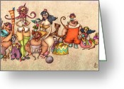 Tightrope Greeting Cards - Bizarre Circus People Greeting Card by Autogiro Illustration