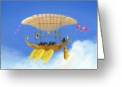 Sailing Cat Greeting Cards - Bizarre Feline-Powered Airship Greeting Card by John Deecken