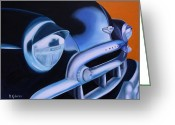 49 Chevy Greeting Cards - Black 1949 Chevrolet Greeting Card by Dean Glorso