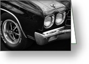 Ss396 Greeting Cards - Black 1970 Chevelle SS 396  Greeting Card by Gordon Dean II