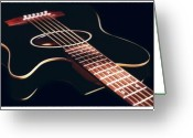 Acoustic Guitar Greeting Cards - Black Acoustic Guitar Greeting Card by Mike McGlothlen
